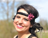 Flapper Girl Halloween Costume Pink and Black Sequence Headband with Lace Flower and Vintage Black Button