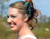 Turquoise French Birdcage Veil with Peacock Bridal Feather Fascinator