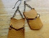 Leather Chevron & Chain Earrings