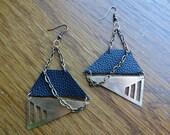 Brass, Leather & Chain Geometric Earrings