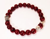 10mm Red Dyed Howlite Beads and Metallic Accent Unisex Bracelet