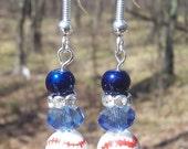 Navy and Light Blue Baseball Earrings