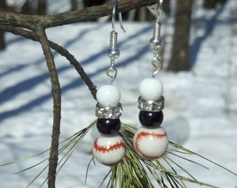 Black and White Baseball Earrings