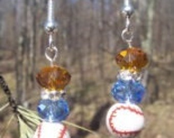 Light Blue and Gold Baseball Earrings