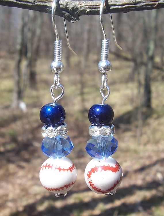 Navy and Light Blue Baseball Earrings