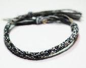 Kumihimo Mens Bracelet Black & White Gray Fiber Mans Jewelry