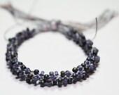 Beaded Bracelet Kumihimo Braid Grey & Purple Beads Egyptian Cotton Fiber Jewelry