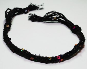 Children's Bracelet Kumihimo Kid Fibre Black Sequin Kids Jewelry