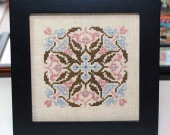 Finished Cross Stitch Framed Abstract Shape Mandala Housewarming Gift Wall Art Pink Blue Brown
