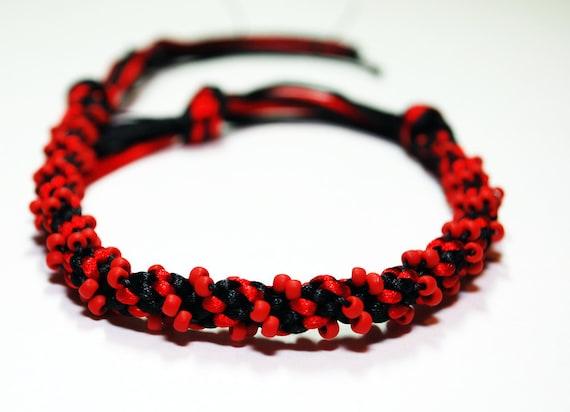 Beaded Bracelet Kumihimo Braid Red Beads & Black Satin Cord Goth Jewelry