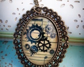 I Can See Your Gears Turning - Glass Pendant Necklace