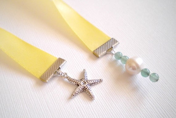 Yellow Ribbon Bookmark with Starfish Charm, Freshwater Pearl, and Aventurine Beads