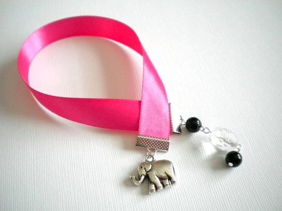 CLEARANCE--Hot Pink Ribbon Bookmark with Elephant Charm and Crystal and Black Beads