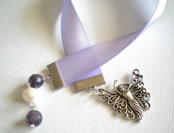 Fairy Lavender Satin Ribbon Bookmark with Faceted Amethyst and Freshwater Pearl
