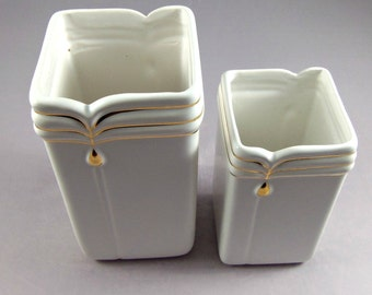 Retro White & Gold Vase Set- Vintage Home Decor- 1980's
