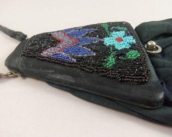 Unusual Black Victorian Handbag with Beveled Mirror
