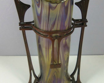 Kralik Art Glass Vase with Metal Mounts