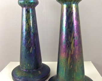 Hand Blown Bohemian Art Glass Vase Set- Victorian Art Glass