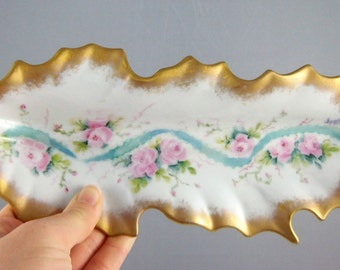Hand Painted China Leaf Serving Dish- Victorian Porcelain Dish