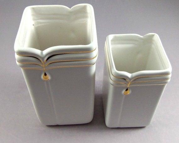 Retro White & Gold Vase Set- Vintage Home Decor- 1980's