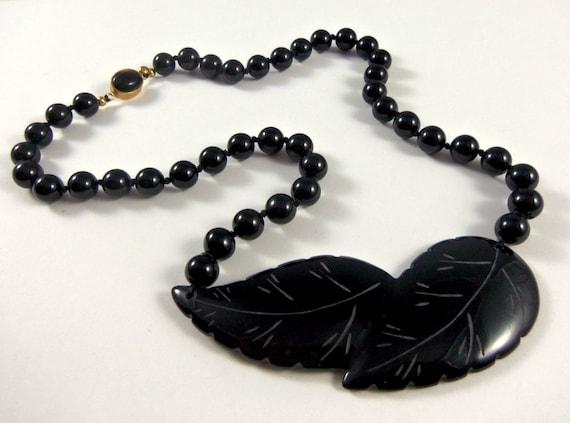 Vintage Onyx Choker- Black Onyx Leaf Necklace