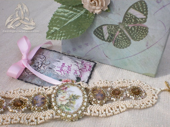 Antique Rose Beaded Lace Bracelet, OOAK with Porcelain Rose Cabochon and Shabby Chic Victorian, Gift Boxed