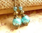 Aqua Earrings Turquoise Blue Pearl Earrings Dangle Earrings Brass Jewelry