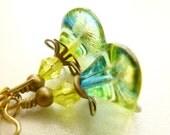 Flower Earrings, Lime Green Yellow, Handmade Jewelry, Vintage Style, Czech Bell Flower Earrings