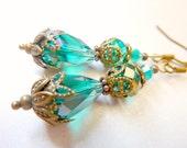 Teal earrings vintage drop blue green transparent crystal earrings
