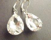 Clear crystal earrings April birthstone teardrop drop estate style wedding bridesmaids