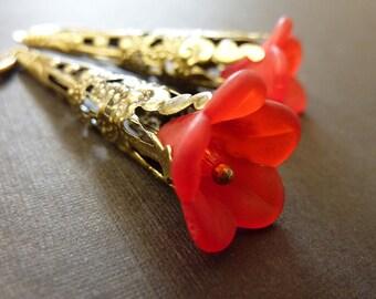 Flower earrings red flower brass vintage estate style earrings