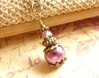 Purple necklace grape purple Radiant Orchid burgundy vintage glass pearl pendant