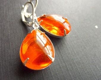 Orange Earrings - Hyacinth Orange Earrings - Crystal Drop Earrings - Bridesmaids Bridal Earrings