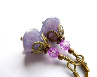Flower earrings purple czech glass bell lilac purple vintage earrings