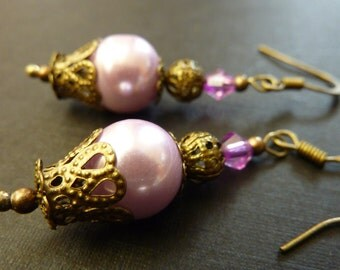 Pale pink earrings Vintage earrings pink pearl drops bridesmaid earrings