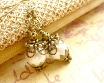 Ivory white pearl earrings bridesmaids earrings vintage brass filigree