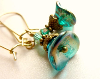 Teal earrings Flower earrings teal blue green glass bell  flower vintage earrings