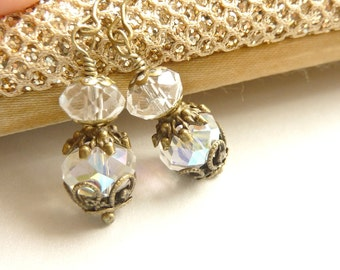 Clear Crystal Earrings Dangle Earrings Vintage Brass Jewelry April Birthstone