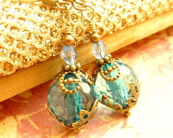 Aqua Blue earrings Vintage earrings blue crystal drop dangles