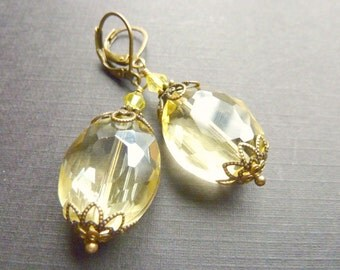 Lemon yellow drop earrings vintage dangle earrings wedding bridesmaid jewelry