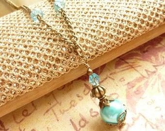 Aqua Blue Necklace - Turquoise Blue Pearl drops - Bridesmaids Necklace - Bridesmaid Jewelry - Bridal Wedding