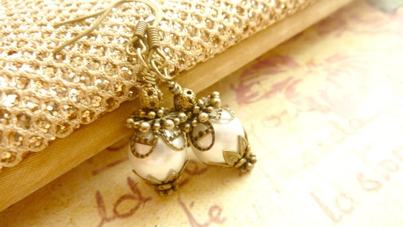 Vintage earrings ivory white faux pearl earrings brass filigree