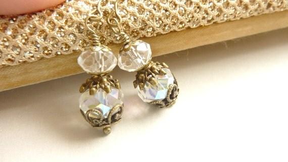 Clear Crystal Earrings Dangle Earrings Vintage Brass Jewelry April Birthstone