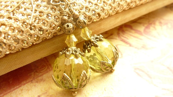Lemon yellow earrings vintage crystal drop earrings wedding bridesmaid jewelry