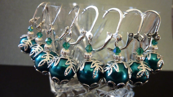 Vintage earrings antique style bridal collection set of 4 teal blue with silver earrings