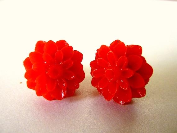 Red Flower Earrings. Red Rose Earrings Resin Earrings. Resin Flower Studs. Floral Jewelry. Red Earrings. Bridesmaid Earrings