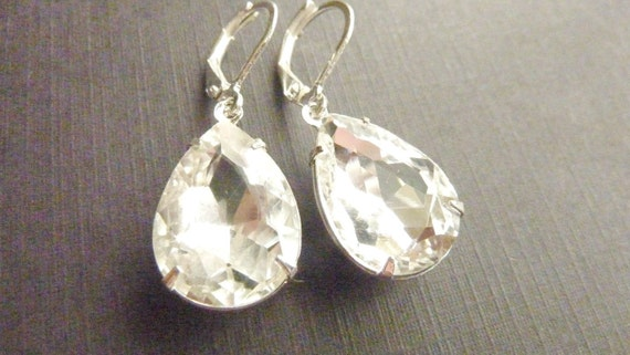 Vintage earrings in transparent clear jewel teardrop shape estate style