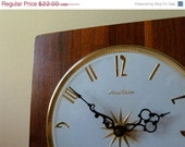 SALE Mid Century Wall Clock with Starburst