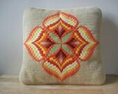 Retro Throw Pillow Floral Geometric Pattern