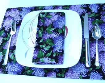 Cloth Placemats- Purple Hydrangeas on Black- Reversible-Cotton- Set of 4